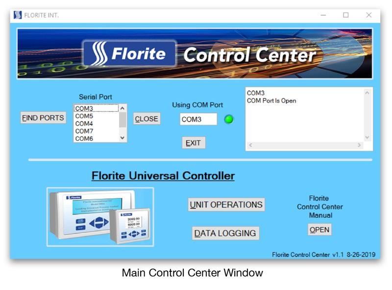 Main Control Center Window